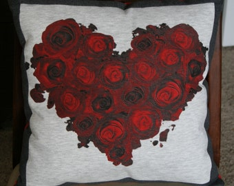 Heart and roses tee shirt pillow