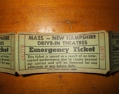 MA NH drive in movie Emergency Tickets, vintage partial roll, Globe Ticket Company