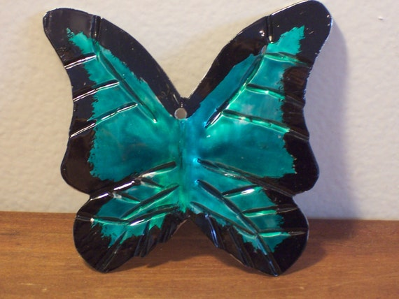 Metal butterfly ornament, hand formed and painted aluminum