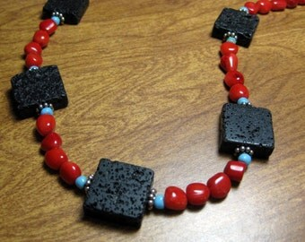Red Hot Necklace - Natural Lava, Coral and Sterling Silver
