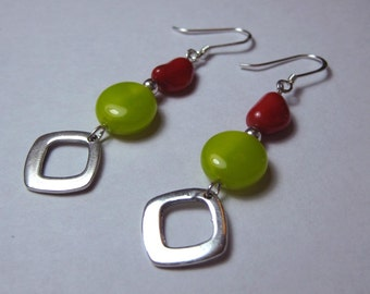Cherry Limeade - Coral, Czech Coin Bead and Sterling Silver