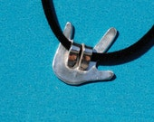 I Love you - American Sign Language -Right Hand - fine silver necklace