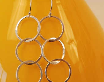 PERFECT TRIPLETS fine silver circles on French ear wires