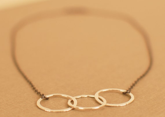 TRIPLETS hammered fine silver circles and oxidized delicate chain