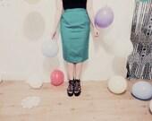 Classic green vintage linen skirt