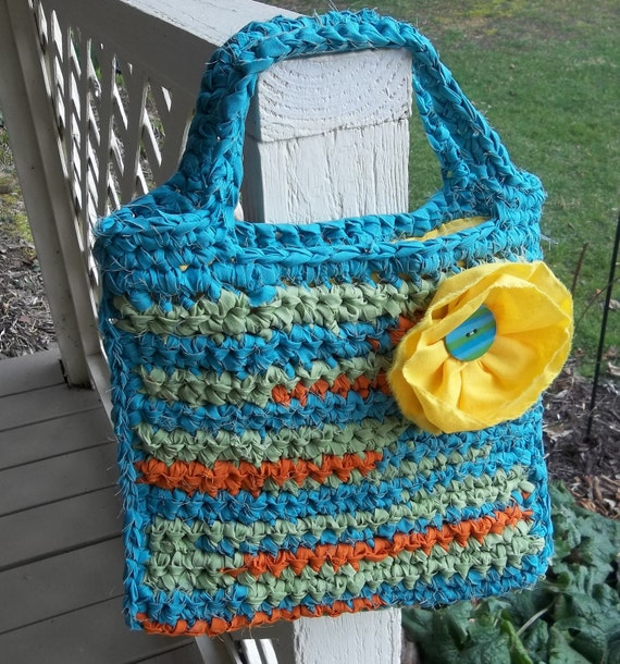 Items Similar To Crocheted Purse-Tote-Rag Rug Style
