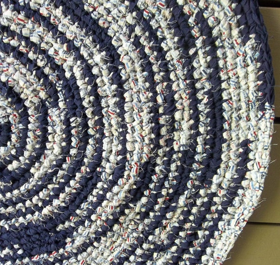 Navy Crocheted Rag Rug, Rag Rug, Crocheted Rag Rug  Cotton Rug,  Cottage Decor, Housewares, Round Rug, Area Rug, Navy Rug, Floor and Rugs