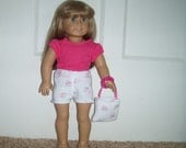 American Girl Doll Clothes Pink Terrycloth Shorts and Pink T Shirt Purse Bracelet