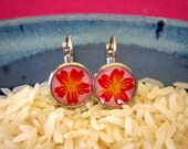 Floral Chiyogami Earrings--Red