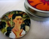 Frida Kahlo Magnet With Coordinating Tin--Self Portrait With Monkeys