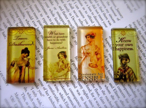 Jane Austen Glass Tile Magnet Set--Team Dashwood--Sense and Sensibilty