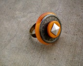 Antique Style orange and black ring
