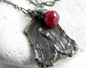 Antique French medal and ruby gemstone . sterling silver necklace
