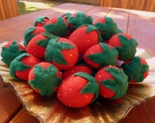 Felt Strawberries Handcrafted Toys Childrens Pretend Play Food Felt Garden Strawberry Plushie Toy Set - Red Felt Strawberries for Kids