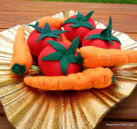 Felt Carrot and Tomato - Felt Tomato Carrot Set - Felt Veggie Play Set - Childrens Felt Play Food - Pretend Play Frood