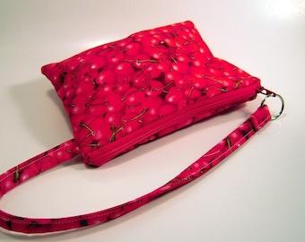 Wristlet in Red Cherries
