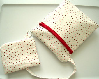 White and Red Polka Dot Double Zippered Wristlet