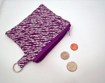 Coin Pouch in Purple Zebra Print