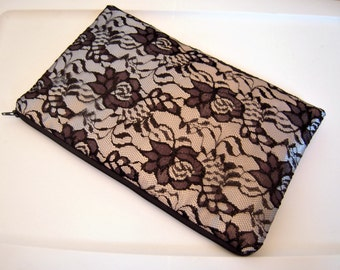 Silver Evening Bag with Black Lace