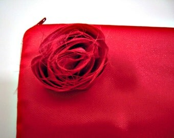 Red Satin and Tulle Evening Bag with Rose