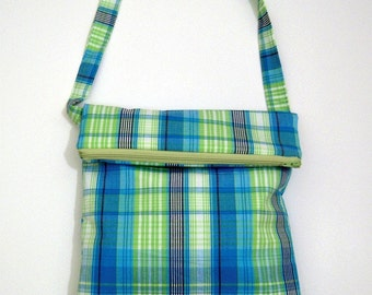Blue and Green Gingham Plaid Cross Body Fold Over Bag