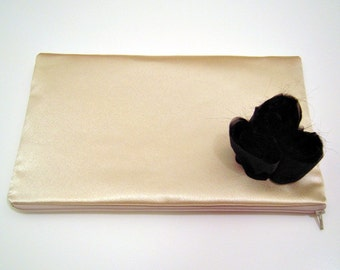 Gold Evening Bag with Black Flowers
