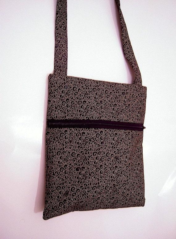 Black & Gold Cross-Body Bag with Rhinestones