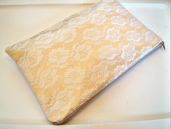 Gold and White Lace Evening Bag Clutch