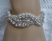 Bridal Bracelet- Rhinestone, Satin, Crystal, Bracelet, Jewelry, Bridesmaids, Braided