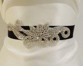 Bridal Rhinestone Sash, MARIABELLA, Bridal Belt, Rhinestone Sash, Bridal Sash, Black Sash