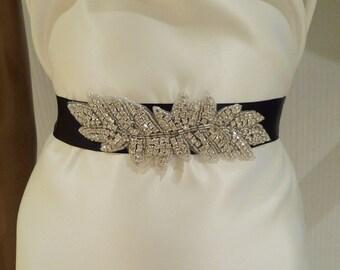 Bridal Belt, Rhinestone Bridal Belt, FRANCESCA, Crystal Sash, Bridal Belt, Black Sash, Ribbon Sash, Wedding Sash, Bridal Sash