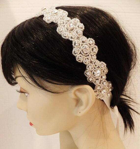Bridal Rhinestone Floral Headband, LILY, Bridal Headband, Rhinestone Headband