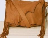 Handmade Deerskin Messenger Bag - Brown