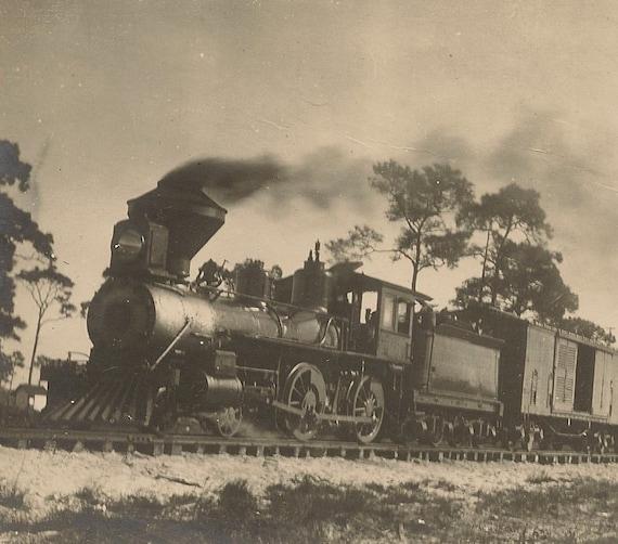 Fellsmere Railroad Train- Vintage Snapshot Photo Black and White