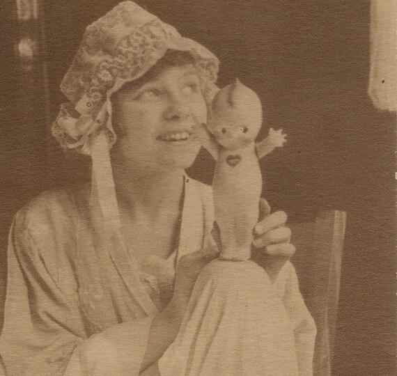 Antique Studio Portrait Girl with Kewpie Doll and Teddy Bear