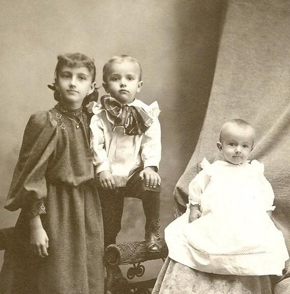 Antique Cabinet Card 3 Children and Hidden Mother