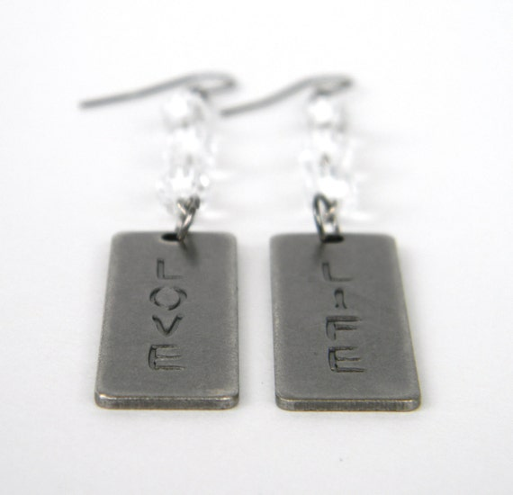 Silver Inspirational Love Life Dangle Earrings