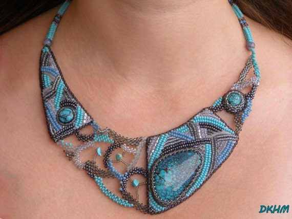 Woven and emroidered turquoise collar,OOAK