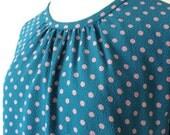 Vintage tunic dress, salmon polka dots, medium - large, Japanese