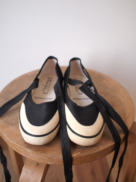 Ballerina style shoes (Superga / Max-co) in black silk (size 35)