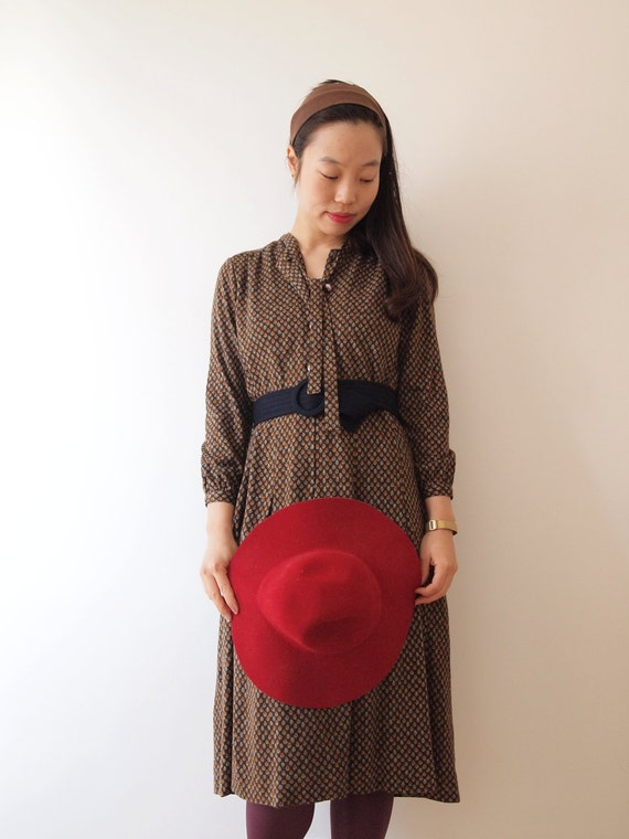 Brown autumn  vintage dress, s - m, Japanese