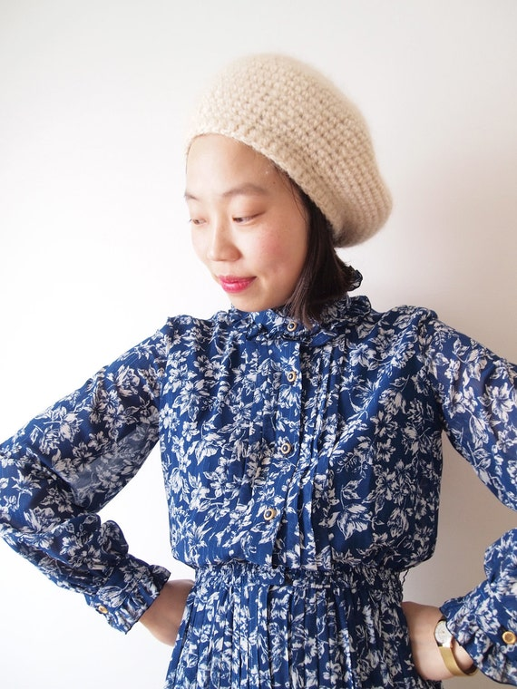 Dark blue vintage dress with white flowers, xs - small, Japan