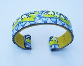 """Colorful, Vibrant 3/4"""" Polymer Clay Cuff in Blue and Yellow"""