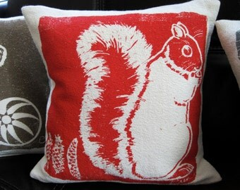 Decorative Pillow, Cushion, Red, Squirrel, Cotton Bark Cloth, Hand Screened, 10x10 inch, silk screened