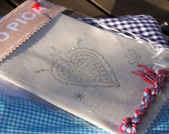 Portuguese heart design, pre printed needlework pattern -DIY embroidery project with many sewing applications