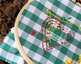 Hand Embroidery pattern, hand stamped heart design from Portugal, green or blue and white gingham fabric, embroidery floss, needle, Viana