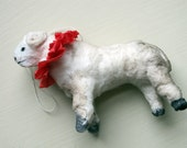 Spun cotton- vintage- ram ornament- handmade art doll- soft sculpture- cotton batting