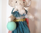 Spun cotton- vintage elephant ornament- cotton batting- soft sculpture- aqua- handmade art doll