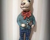 White Rabbit - papier mache- folk art- handmade art doll- folk art- ooak doll- blue