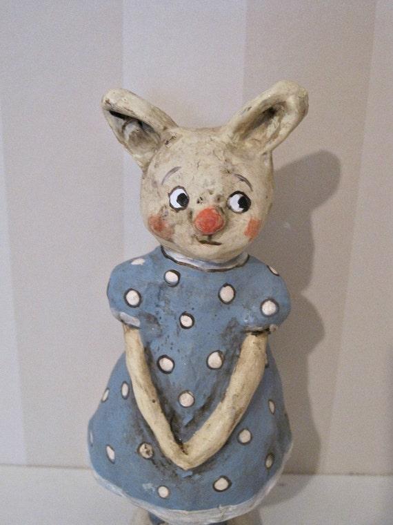 Rabbit - papier mache- folk art- handmade art doll- folk art- ooak doll- blue